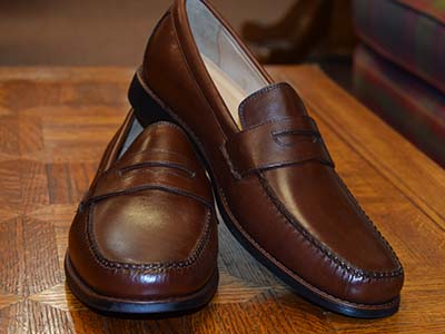 f52240a45cb Ainsworth leather penny loafer mahogany