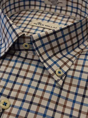 1abf69ce711f Peter Millar 95% cotton 5% spandex. Crown Ease Eyre Square Tattersall  blue brown long sleeve